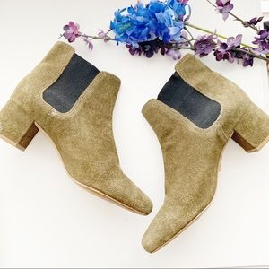 Madewell Olive Green Suede Booties
